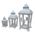 Set of 3 Antique White Rustic Lanterns