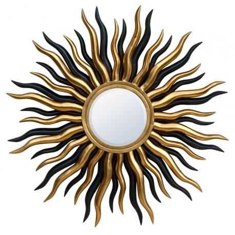 Gold And Black Sunburst Bevelled Mirror Forever Furnishings