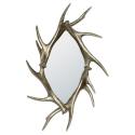 Large Silver Antler Diamond Shaped Mirror