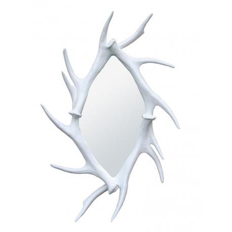 White Antler Effect Framed Mirror