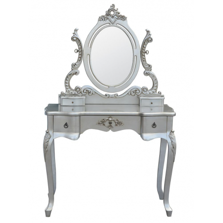 Silver Ornate 3 Drawer Dressing Table And Mirror Forever