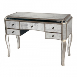 Large Antiqued Glass Venetian Style Dressing Table - Silver edge