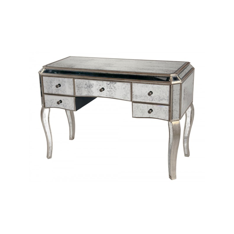 Large antiqued glass venetian style desk dressing table for Wide dressing table