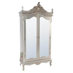 Silver Armoire Full Mirror Doors