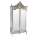 Silver Armoire Wardrobe with Full Mirror Doors