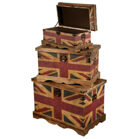 b47c800673 Vintage Union Jack wooden Trunk Set - Forever Furnishings
