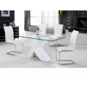 Arizona Glass and High Gloss White Table & 4 Chairs