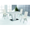 Costilla High Gloss White Dining Table Set