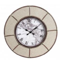 Large Gold Round World Explorer Clock
