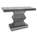 Smoke Black Glass Mirror Console Table