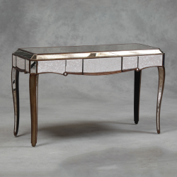Antique Mirror Glass Console Table With Gold Edging