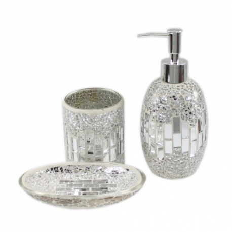 Mirror silver shell mosaic bathroom set forever furnishings - Purple bathroom accessories uk ...
