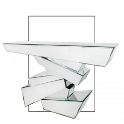 Contemporary Abstract Stacked Layered Effect Mirror Console Table