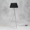 Tri Floor Lamp in Chrome with Black Silk Shade