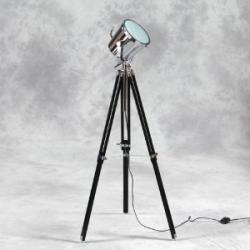 Wooden Tripod Chrome Spotlight Floor Lamp