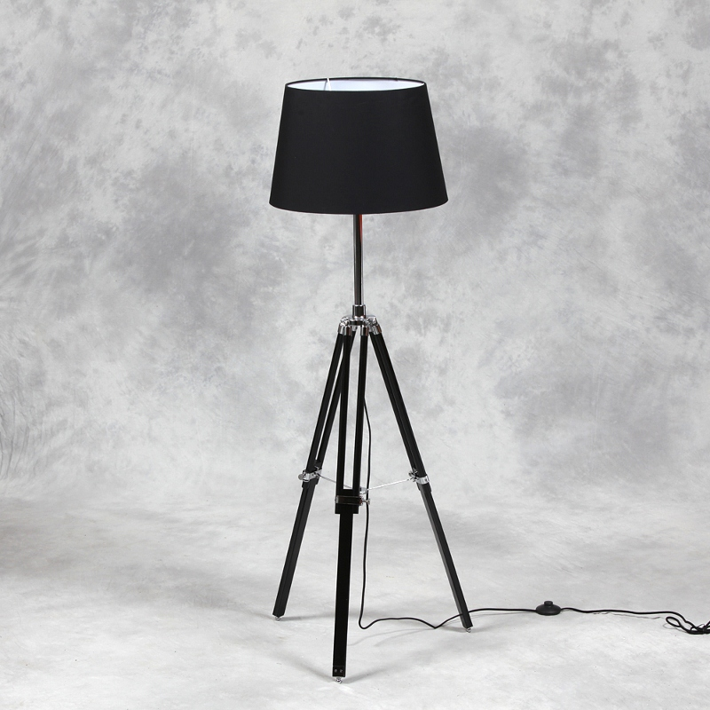 Wooden Tripod Floor Lamp With Black Shade And Chrome