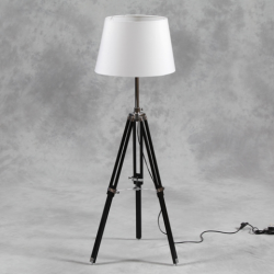 Wooden Tripod Floor Lamp with White Shade and Chrome Detailing
