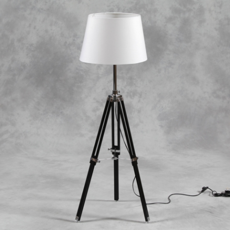 Wooden tripod floor lamp with white shade and chrome for Wilko tripod floor lamp white