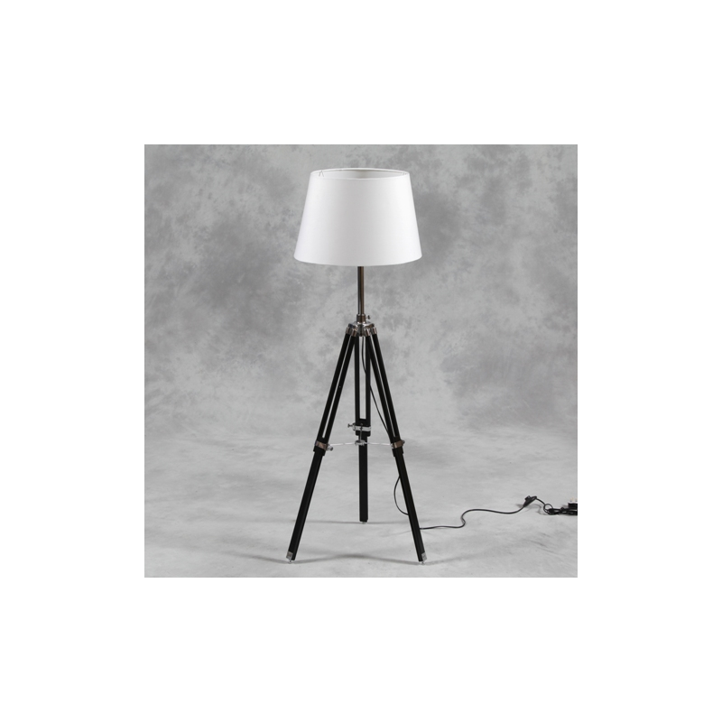 Wooden tripod floor lamp with white shade and chrome for Tripod floor lamp silver base white shade