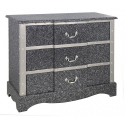 3 Drawer Shimmer Black Wooden Chest With Silver Trim