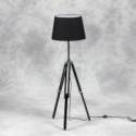 Wooden Tripod Floor Lamp with Black Shade and Chrome Detailing