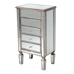 Mirror Antique Silver Trim 5 drawer Bed Side Table