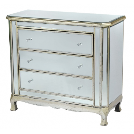 Antique Silver 3 Drawer Mirrored Cabinet cHEST