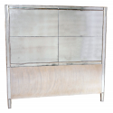 Mirror Head Board with Antique Silver Trim