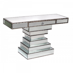 Antique Silver Edge Mirrored Style Console Table