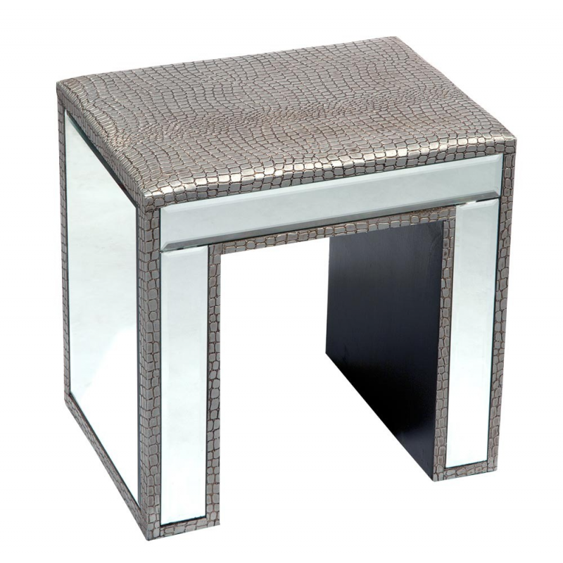 Silver moc croc mirror dressing table stool