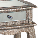 Mirror and Silver Moc Croc Bedside Lamp Table