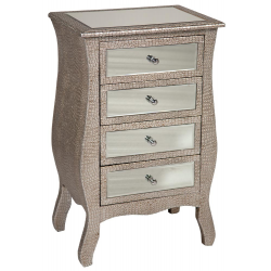 Mirror Silver Moc Croc Drawers / Bedside Table