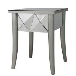 Champagne Glacier Mirror Bedside End Lamp Table