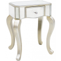 Mirror Lamp End Table With Champagne Silver Trim