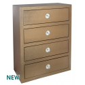 Dark Gold Faux Crocodile Chest of 4 Drawers
