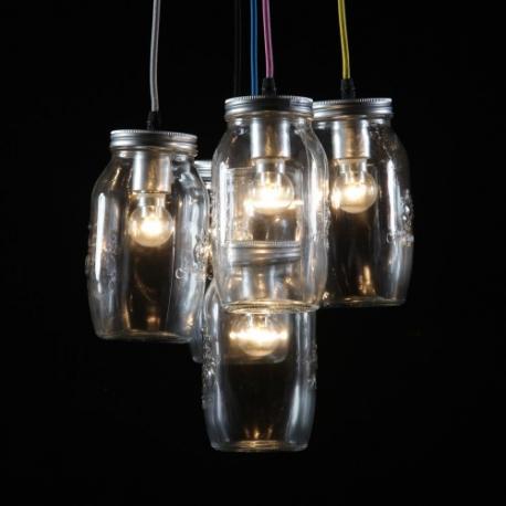 Vintage Silver 5 Jam Jars Pendant With Multicolour Fabric Flex