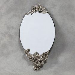 Oval Frameless Wall Mirror with Silver Lily Detail