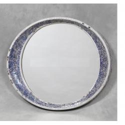 Round Blue Crackle Mosaic Mirror