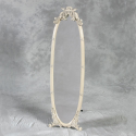 Antiqued Cream Dressing Tall Full Length Mirror on Stand