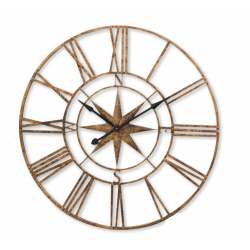 Large Gold Nautical Compass Skeleton Wall Clock