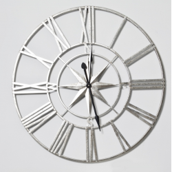 Large Silver Nautical Compass Skeleton Wall Clock