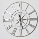Large Silver Nautical Compass Antique And Rustic Skeleton Wall Clock