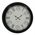 Large Black with White Face Multi 6 Dial Wall Clock