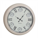 Large Cream with White Face Multi 6 Dial Wall Clock