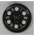 Large Black with Black and Gold Face Multi 6 Dial Wall Clock