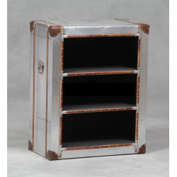 Industrial Travel Trunk Silver Bookshelf Cabinet