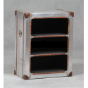 Industrial Travel Trunk Silver Bookshelf Cabinet