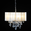 Chrome 5 Branch Chandelier with White Shade