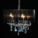 Chrome 5 Branch Chandelier with Black Shade