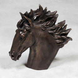 Extra Large Bronze Effect Horse Head Statue